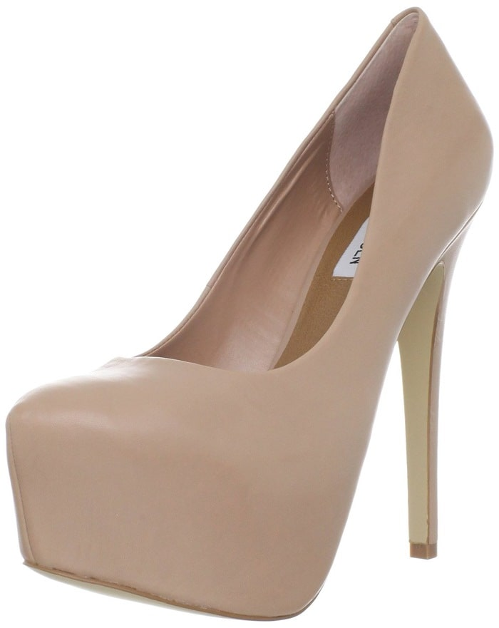 A statuesque pump is fashioned with a wrapped platform and heel for a cohesive look