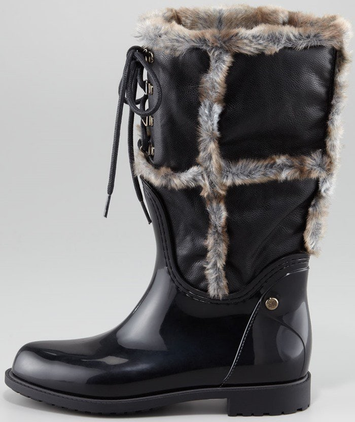 Stuart Weitzman Rebooting Faux-Fur-Trimmed Rain Boots