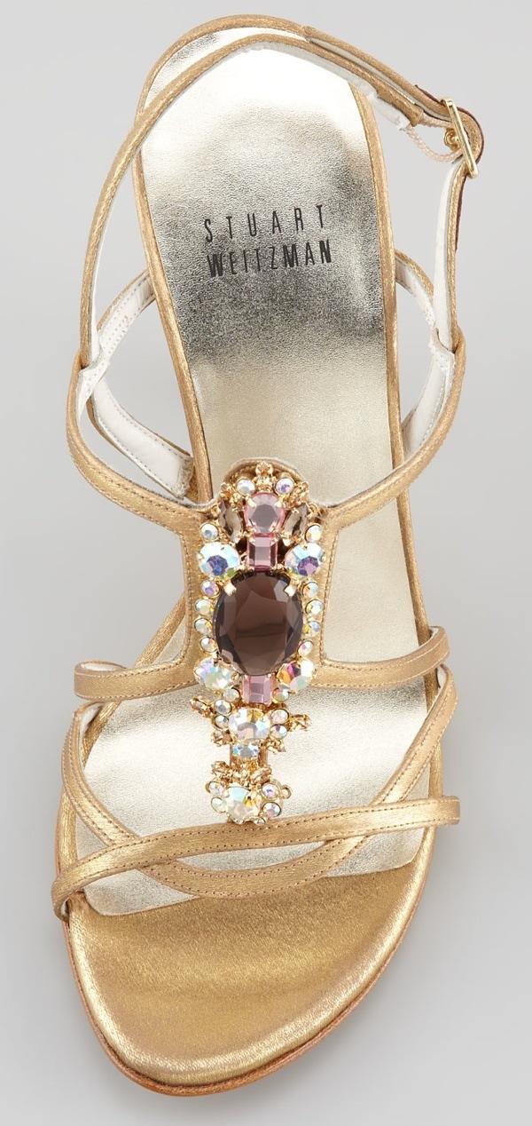 Stuart Weitzman Tsar Satin Jewel-Front Sandal, Gold Original-$560.00 NOW-$252.00 Toe