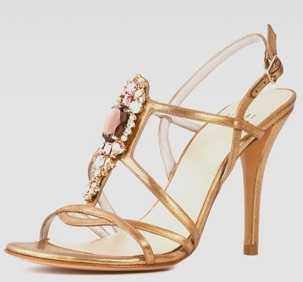 Stuart Weitzman Tsar Satin Jewel-Front Sandal, Gold Original-$560.00 NOW-$252.00