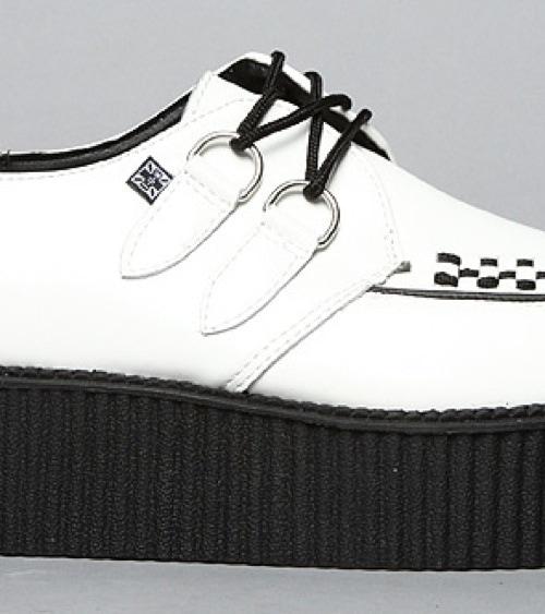 T.U.K. The Mondo Creeper Shoe in White Leather Detail