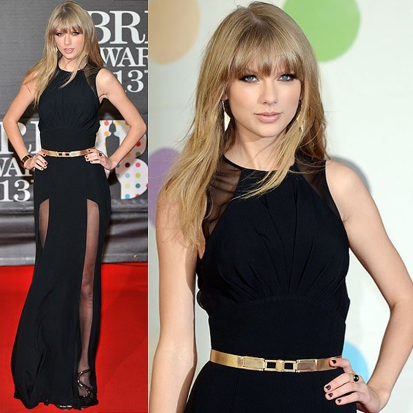 Taylor Swift steps out for the 2013 BRIT Awards held at O2 Arena in London, England on February 20, 2013