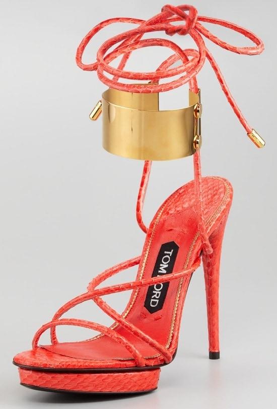 Tom Ford Brass Ankle-Wrap Snakeskin Platform Sandals