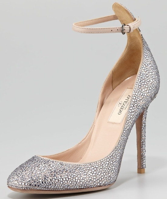 Valentino Crystal-Covered Tango Stiletto Pumps