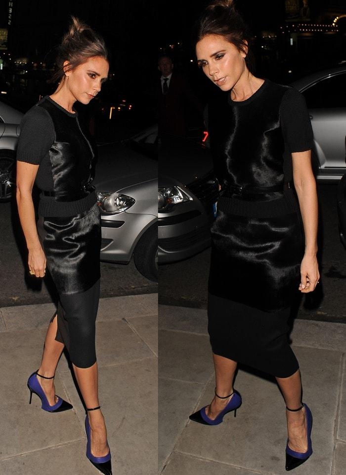 "Victoria Beckham's signature ""Posh Spice"" all-black ensemble"