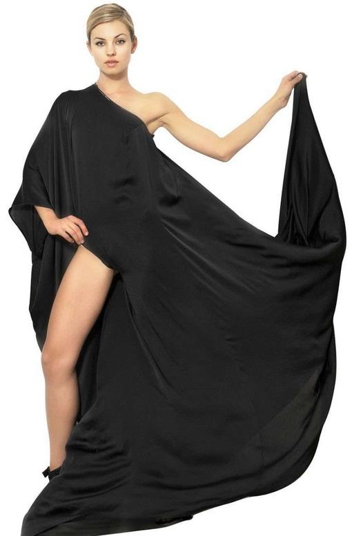 Anthony Vaccarello Draped Techno Satin Long Dress