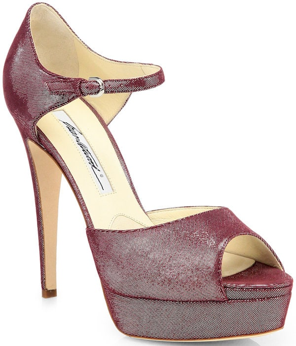 "Brian Atwood ""Tribeca"" Metallic Lame Platform Sandals"