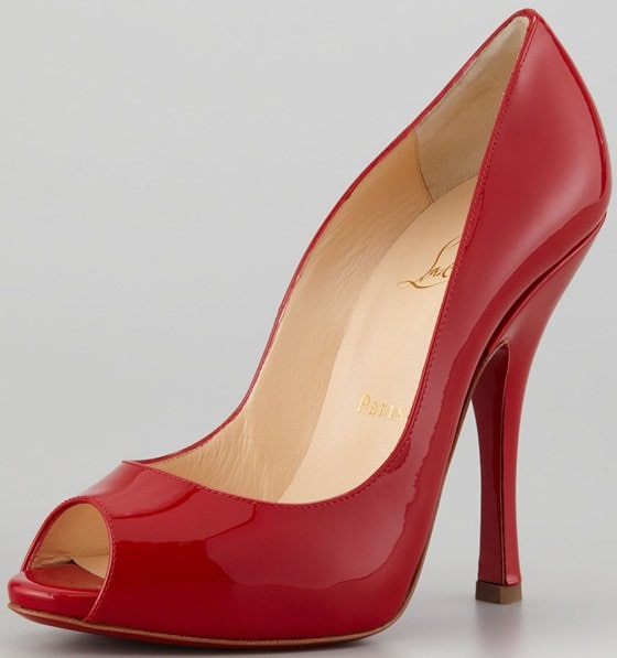 Christian Louboutin 'Maryl' Peep-Toe Pumps in Red Patent