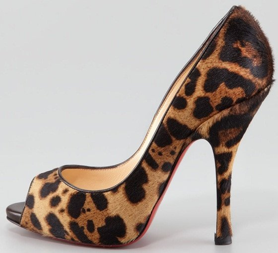 Christian Louboutin 'Maryl' Peep-Toe Pumps in Leopard Print Calf Hair