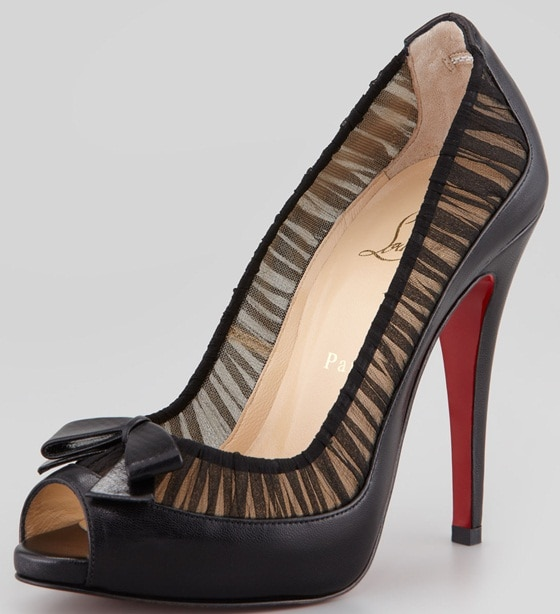 christian louboutin angelique leather and chiffon peep toe in blakc