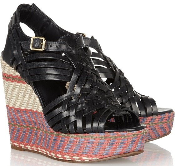 tory burch raven woven leather and raffia sandals