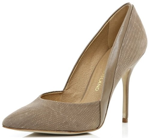 river island beige paneled pointy pumps