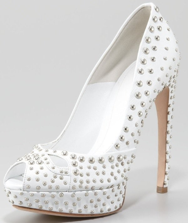 Alexander McQueen Studded Leather Pump, White $1385.00