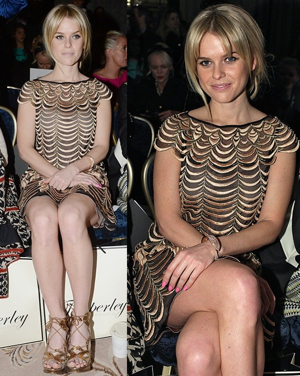 Alice Eve flaunts her toned legs at London Fashion Week