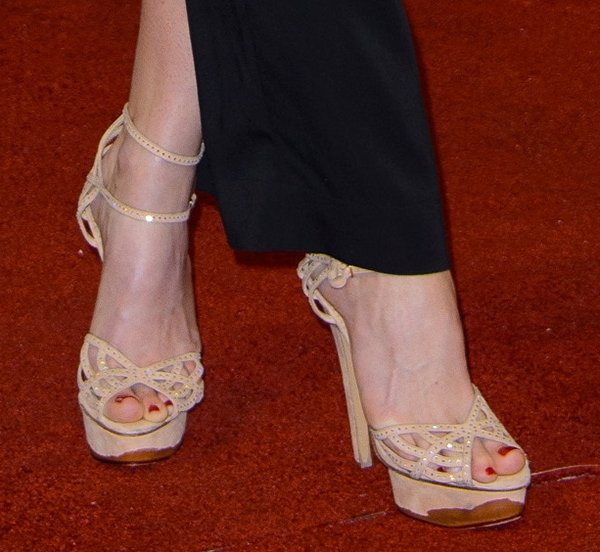 "Alice Eve wearing Charlotte Olympia ""Octavia"" sandals"