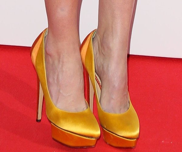 "Alice Eve wearing Charlotte Olympia ""Masako"" pumps"