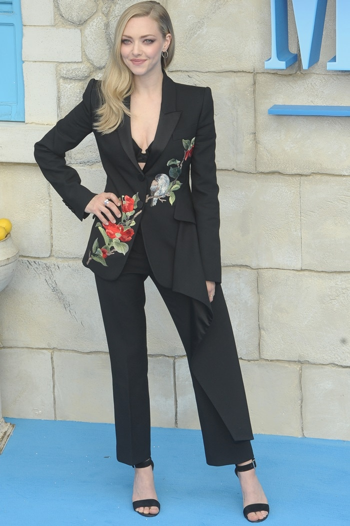 Amanda Seyfried's embroidered pantsuit from Alexander McQueen