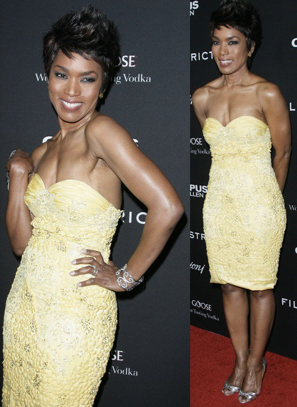 """Angela Bassett shows off her clipped hairstyle at the Los Angeles premiere of """"Olympus Has Fallen"""""""