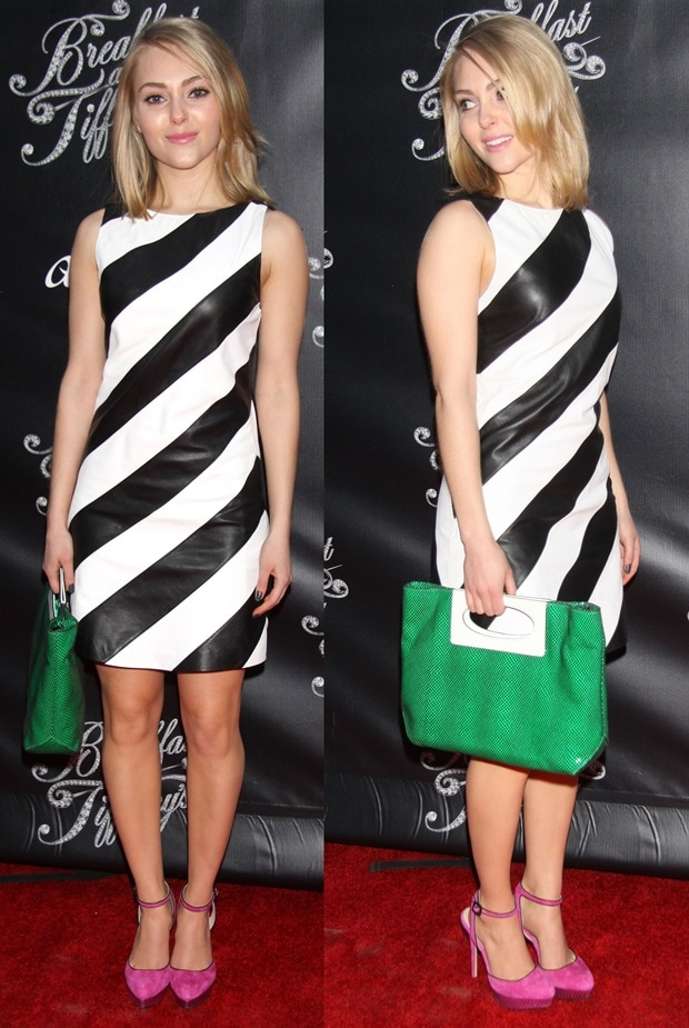 AnnaSophia Robb paired her striped dress with with hot pink heels and a green purse