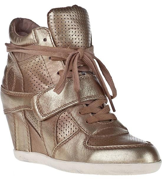 Ash Bowie Wedge Sneakers in Metallic Bronze