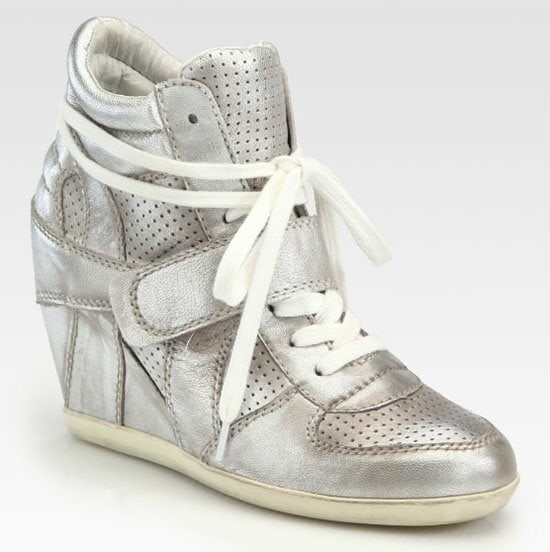 Ash Bowie Wedge Sneakers in Metallic Silver