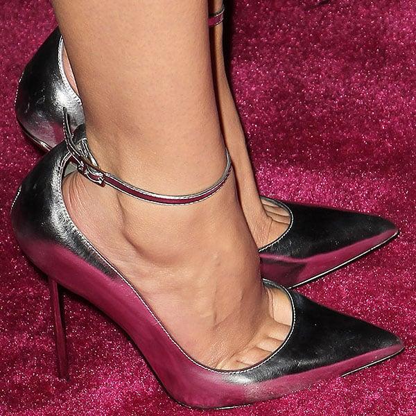Ashley Benson silver ankle strap pumps