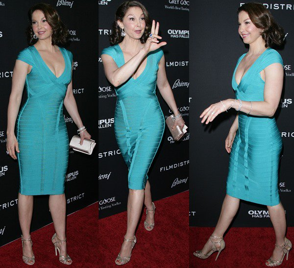 """Ashley Judd pins her hair back at the Los Angeles premiere of """"Olympus Has Fallen"""""""