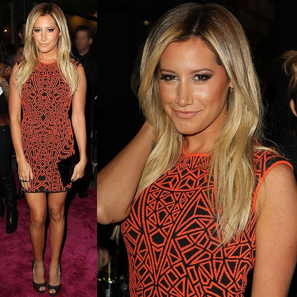 Ashley Tisdale flaunts her legs at the 'Spring Breakers' premiere in an Rvn dress held at ArcLight Cinemas in Hollywood on March 14, 2013