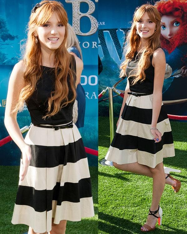 Bella Thorne flaunted her legs at the 2012 Los Angeles Film Festival premiere of Disney Pixar's Brave