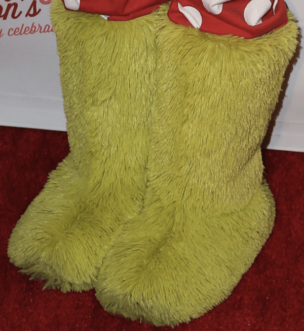 Bella Thorne's yellow fur boots