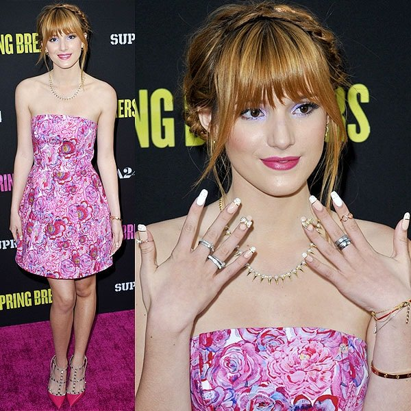 Leggy Bella Thorne at the 'Spring Breakers' premiere held at ArcLight Cinemas in Hollywood on March 14, 2013