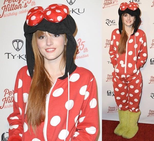 Actress Bella Thorne arrives at Perez Hilton's 35th Birthday Party Extravaganza at El Rey Theatre on March 23, 2013, in Los Angeles, California