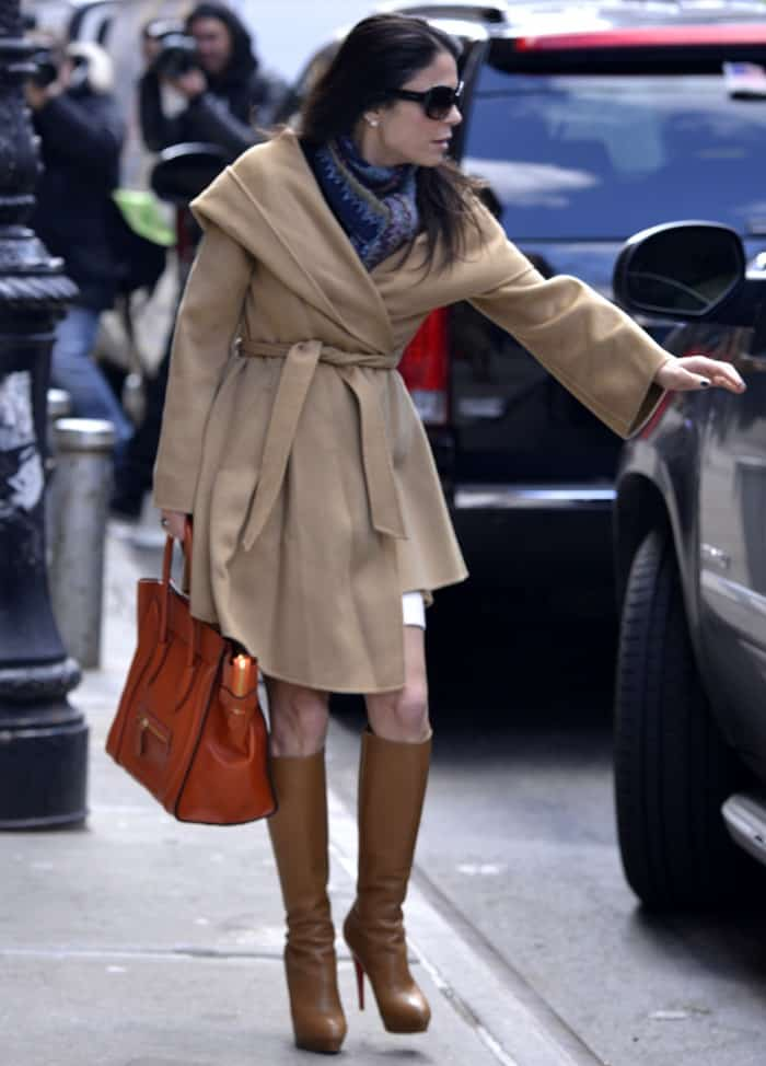 Bethenny Frankel wore a pair of tan Christian Louboutin boots while out in New York City with her publicist