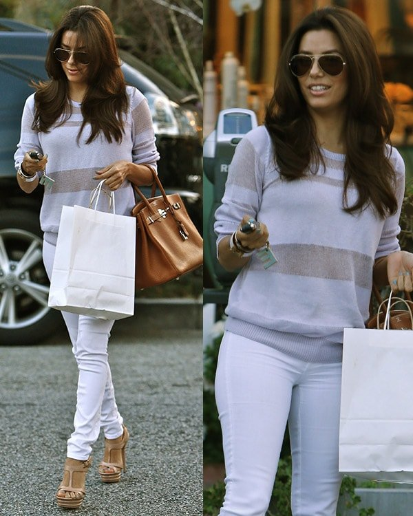 Birthday girl Eva Longoria treats herself and her mum Ella Eva Mireles to some pampering at Ken Paves hair salon in West Hollywood on March 15, 2013