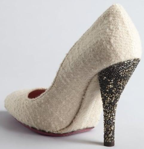 Bottega Veneta white wool crystal heel pumps 2
