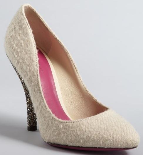 Bottega Veneta white wool crystal heel pumps
