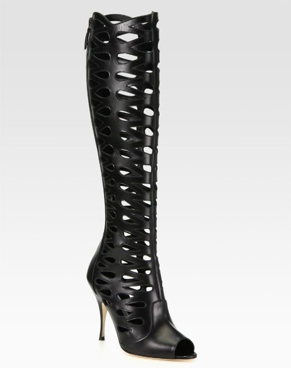 Brian Atwood Electra Leather Cutout Knee-High Boots