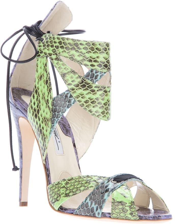 Brian Atwood Green Uma Mocksnake Leather Sandals