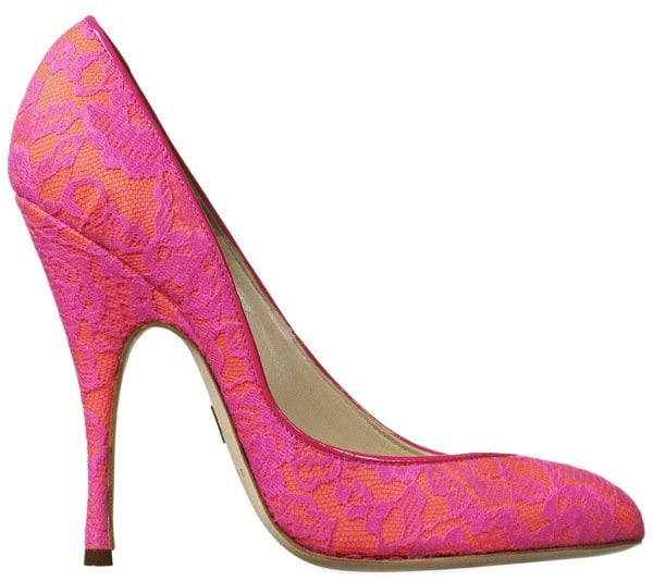 """Brian Atwood """"Nico"""" Pumps in Hot Pink Lace"""