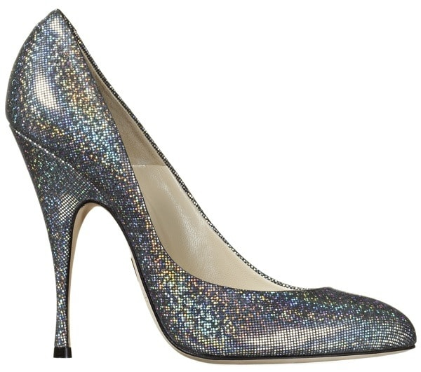 """Brian Atwood """"Nico"""" Pumps in Silver Sparkle Leather"""