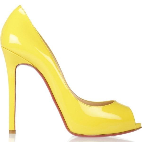 CHRISTIAN LOUBOUTIN Flo 120 patent-leather peep-toe pumps $845 Outstep