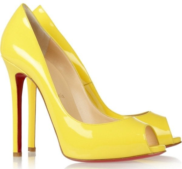 Yellow 'Flo' 120 Patent-Leather Peep-Toe Pumps