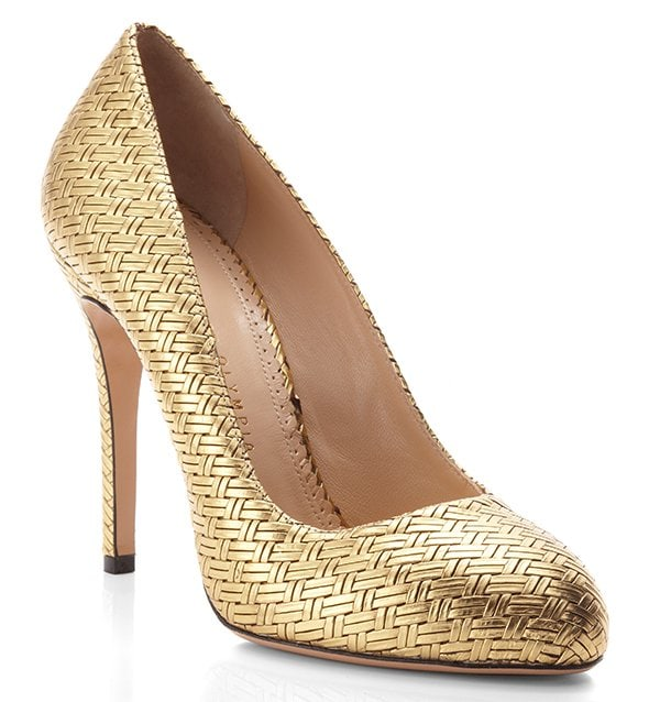Charlotte Olympia Gold Jenny Court Pumps