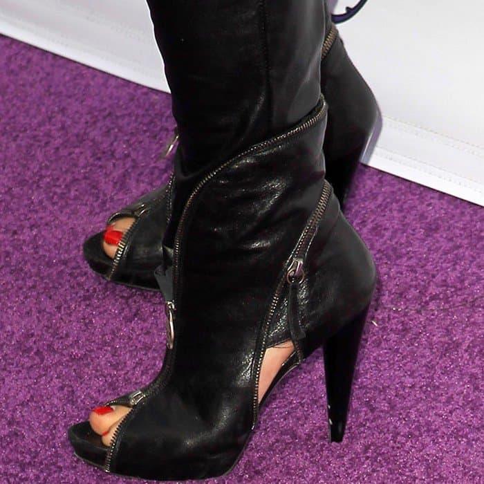 Cheryl in cippered peep-toe booties