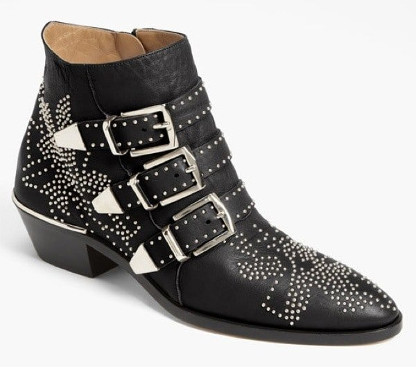Black Chloé 'Suzanne' Stud Buckle Booties