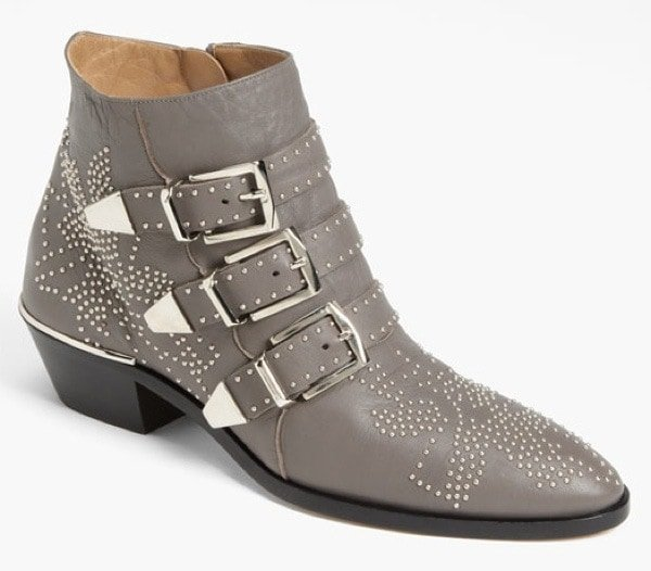 Grey Chloé 'Suzanne' Stud Buckle Booties