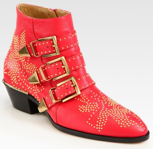 Red Chloé 'Suzanne' Stud Buckle Booties