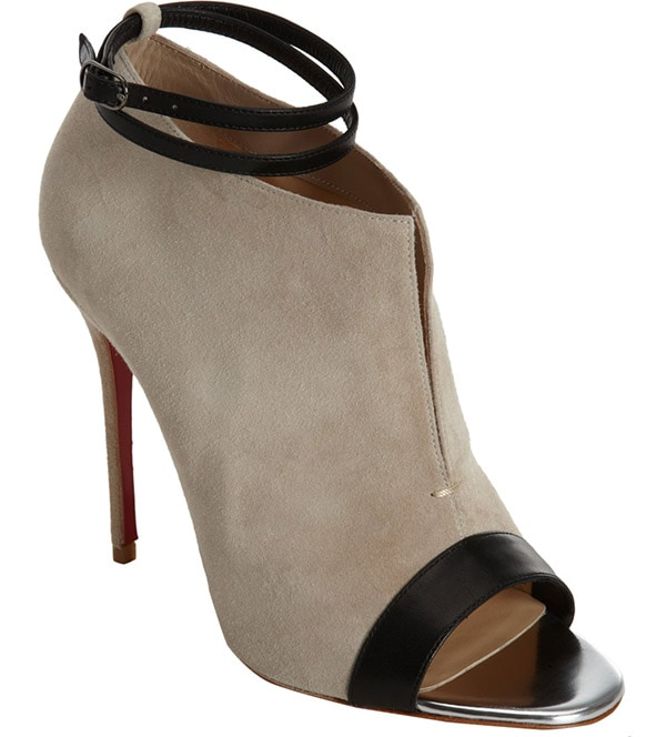 Christian Louboutin Diptic Booties in Taupe Suede