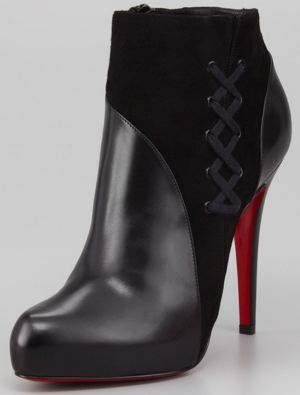 Christian Louboutin Leather and Suede Red-Sole Ankle Boots
