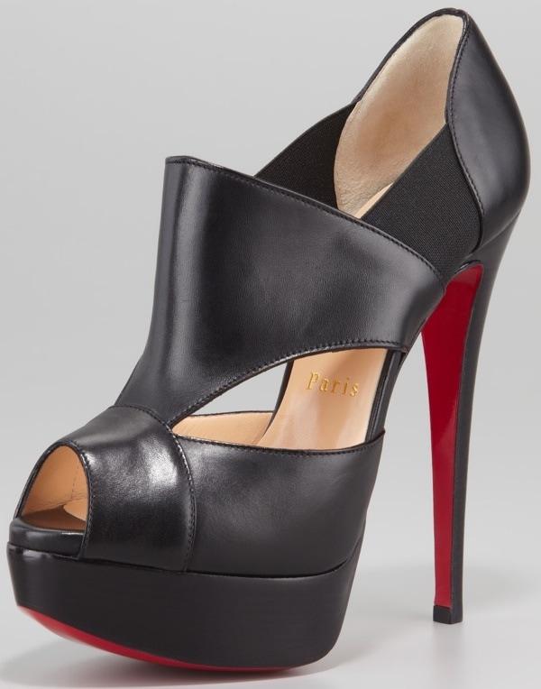 Christian Louboutin Pitou Leather Peep-Toe Red Sole Bootie, Black $1095.00